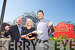Kathleen O'Rourke, Oakpark Tralee, winner of the Kerry's Eye and Ballyseedy Garden Centre Competition presented by  Nathan McDonnell, Ballyseedy home and outdoor living, here with Kerrys Eye Brendan Kennelly on Tuesday