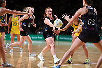 11.10.2017 Silver Ferns Samantha Sinclair in action during the Constellation Cup netball match between the Silver Ferns and Australia at Titanium Security Arena in Adelaide. Mandatory Photo Credit ©Michael Bradley.