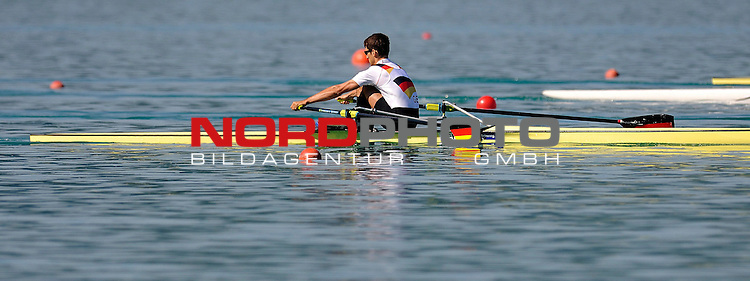 21 June,2014. World Cup Rowing, Aiguebelette, France. Daniel Lavitzke in action.<br /> <br /> Foto &copy; nph / Pier Paolo Piciucco