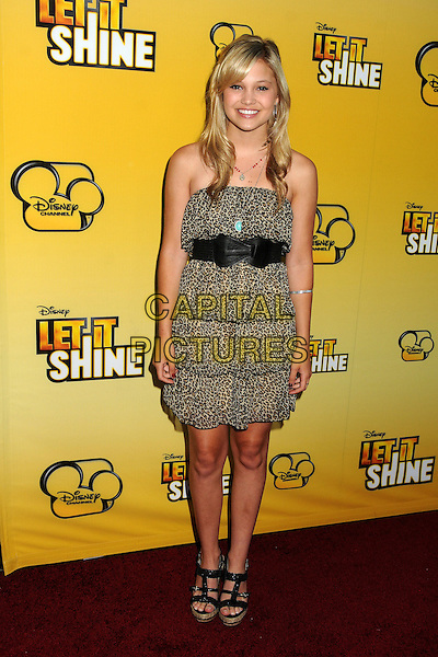"Olivia Holt.""Let It Shine"" Los Angeles Premiere held at the Directors Guild of America, West Hollywood, California, USA..June 5th, 2012.full length beige brown tiered layered layers dress black belt strapless.CAP/ADM/BP.©Byron Purvis/AdMedia/Capital Pictures."