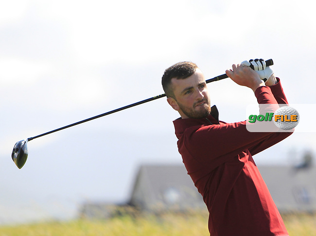Senan Carroll (Ballybunion) on the 1st tee during the Munster Final of the AIG Senior Cup at Tralee Golf Club, Tralee, Co Kerry. 12/08/2017<br /> <br /> Picture: Golffile | Thos Caffrey<br /> <br /> All photo usage must carry mandatory copyright credit     (&copy; Golffile | Thos Caffrey)