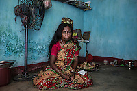 """Lokimoni Lohar, 45 years old, is the witch doctor of Mani Kwajar village. She claims to be able to heal people from evil spirits cast by witches and ghosts. According to her, witches gather in the surrounding fields every full moon night, where they dance in order to increase their powers. """"They have to be killed. If someone had done something bad to your wife or daughter, would you let her live?"""""""