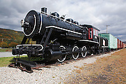 A 1911 Baldwin 0-6-0 steam locomotive on display at the Grand Trunk Railroad Museum in Gorham, New Hampshire.