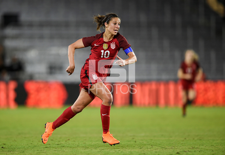 Orlando City, FL - Wednesday March 07, 2018: Carli Lloyd during a 2018 SheBelieves Cup match between the women's national teams of the United States (USA) and England (ENG) at Orlando City Stadium.
