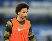 6th February 2019, Goodison Park, Liverpool, England; EPL Premier League Football, Everton versus Manchester City; Leroy Sane of Manchester City warms up before the match