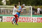 11.08.2019, Salmtalstadion, Salmrohr, GER, DFB-Pokal, 1. Runde FSV Salmrohr vs Holsteinm Kiel<br /> <br /> DFB REGULATIONS PROHIBIT ANY USE OF PHOTOGRAPHS AS IMAGE SEQUENCES AND/OR QUASI-VIDEO.<br /> <br /> im Bild / picture shows<br /> <br /> Giancarlo PINNA (FSV Salmrohr, #07, weiß) und Aleksandar IGNJOVSKI (Holstein Kiel, #22, blau)<br /> <br /> Foto © nordphoto / Schwarz