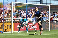 SAN JOSE, CA - JUNE 8: Matt Hedges #24 of FC Dallas clears the ball under pressure from Magnus Eriksson #7 of the San Jose Earthquakes during a game between FC Dallas and San Jose Earthquakes at Avaya Stadium on June 8, 2019 in San Jose, California.