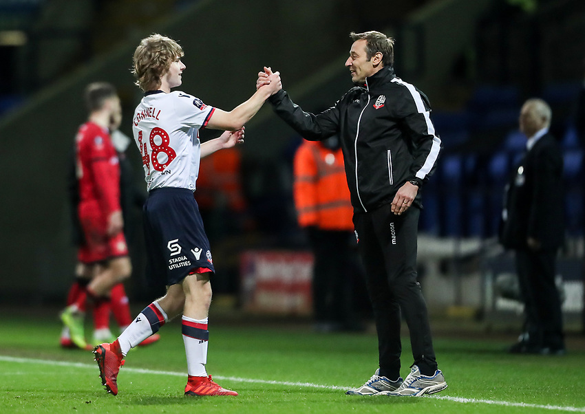 Bolton Wanderers' Luca Connell is congratulated by first team coach Julian Darby at the end of the match<br /> <br /> Photographer Andrew Kearns/CameraSport<br /> <br /> Emirates FA Cup Third Round - Bolton Wanderers v Walsall - Saturday 5th January 2019 - University of Bolton Stadium - Bolton<br />  <br /> World Copyright © 2019 CameraSport. All rights reserved. 43 Linden Ave. Countesthorpe. Leicester. England. LE8 5PG - Tel: +44 (0) 116 277 4147 - admin@camerasport.com - www.camerasport.com