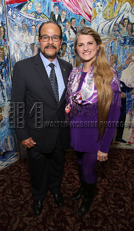 Luis Falcon and Bonnie Comley attend the UMass Lowel Cockail Party for 'Sunset Boulevard' hosted by Chancellor Jacquie Moloney, Bonnie Comley and Stewart F. Lane at Sardi's on April 5, 2017 in New York City
