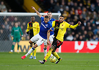 1st February 2020; Vicarage Road, Watford, Hertfordshire, England; English Premier League Football, Watford versus Everton; Etienne Capoue of Watford challenges Richarlison of Everton
