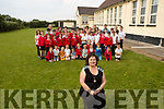 Miss Miriam Casey on her retirement in Bouleenshere NS Ballyheigue with the students and staff on Thursday morning.<br />  .