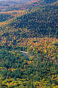 Kancamagus Highway from Boulder Loop Trail during the autumn months. The Kancamagus Highway (route 112), is one of New England's scenic byways in the White Mountains, New Hampshire USA