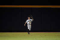 Peoria Javelinas center fielder Jarren Duran (18), of the Boston Red Sox organization, prepares to catch a fly ball during an Arizona Fall League game against the Surprise Saguaros on September 22, 2019 at Peoria Sports Complex in Peoria, Arizona. Surprise defeated Peoria 2-1. (Zachary Lucy/Four Seam Images)