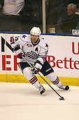 March 13, 2009:  Left Wing Karl Stewart (19) of the Rochester Amerks, AHL affiliate of the Florida Panthers, in the first period during a game at the Blue Cross Arena in Rochester, NY.  Toronto defeated Rochester 4-2.  Photo copyright Mike Janes Photography 2009