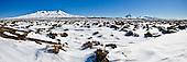 Mounts Ruapehu, Ngauruhoe & Tongariro from the Rangipo Desert, Tongariro National Park.