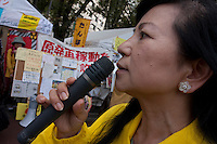 A woman speaks at an Anti nuclear protest by women outside the Ministry of Economy, Trade and Industry (METI) in Tokyo Japan. Friday November 4th 2011. The protest ran from October 27th to Noverber 5th. Originally started my mothers from Fukushima protesting about nuclear contamination from October 30th to November 5th the protest welcomed women and people from all over Japan.