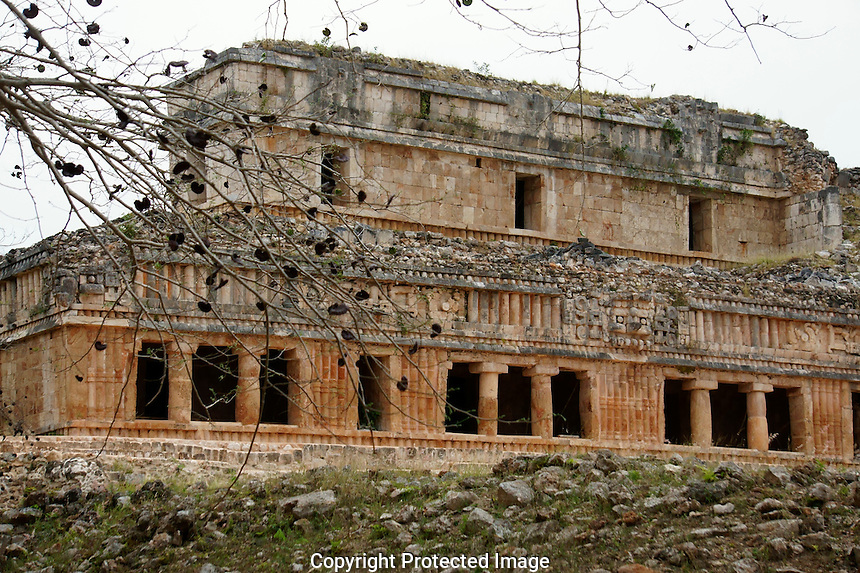 The Palace or El Palacio at the Mayan ruins of Kabah, Yucatan, Mexico..