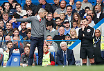 Arsene Wenger manager of Arsenal protests to the fourth official during the premier league match at Stamford Bridge Stadium, London. Picture date 17th September 2017. Picture credit should read: David Klein/Sportimage