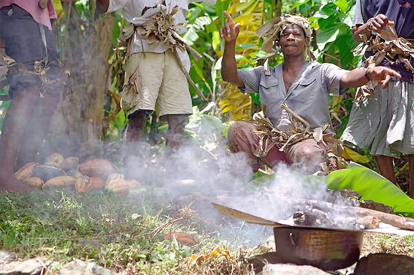 Tobago Heritage Festival, Enactment of feeding the cocoa workers from an iron coal pot, Tobago