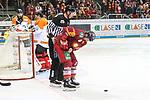Duesseldorfs Patrick Buzas (Nr.21) mit Schmerzen beim Spiel in der DEL, Duesseldorfer EG (rot) - Grizzlys Wolfsburg (weiss).<br /> <br /> Foto © PIX-Sportfotos *** Foto ist honorarpflichtig! *** Auf Anfrage in hoeherer Qualitaet/Aufloesung. Belegexemplar erbeten. Veroeffentlichung ausschliesslich fuer journalistisch-publizistische Zwecke. For editorial use only.