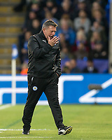 Leicester City Manager Craig Shakespeare shows his frustration during the UEFA Champions League QF 2nd Leg match between Leicester City and Atletico Madrid at the King Power Stadium, Leicester, England on 18 April 2017. Photo by Andy Rowland.