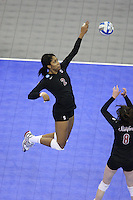 Omaha, NE - DECEMBER 20:  Middle blocker Janet Okogbaa #2 of the Stanford Cardinal during Stanford's 20-25, 24-26, 23-25 loss against the Penn State Nittany Lions in the 2008 NCAA Division I Women's Volleyball Final Four Championship match on December 20, 2008 at the Qwest Center in Omaha, Nebraska.