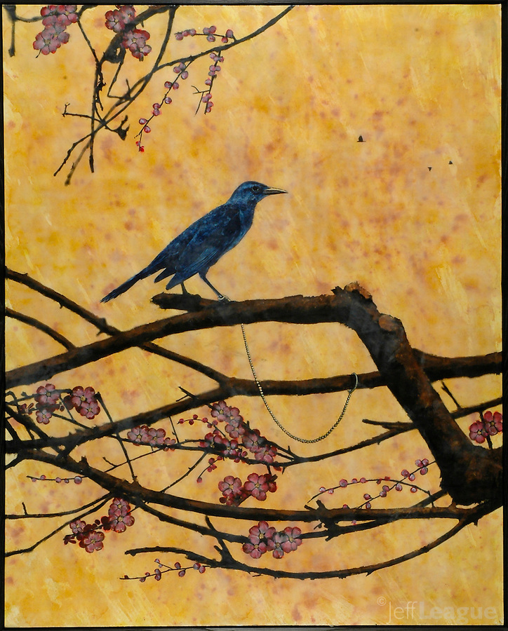 Mixed media encaustic photo painting of the Emperor's grackle on branch with blossoms.