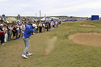 Bernd Wiesberger (AUT) plays his 2nd shot on the 18th hole during Sunday's Final Round of the Dubai Duty Free Irish Open 2019, held at Lahinch Golf Club, Lahinch, Ireland. 7th July 2019.<br /> Picture: Eoin Clarke | Golffile<br /> <br /> <br /> All photos usage must carry mandatory copyright credit (© Golffile | Eoin Clarke)