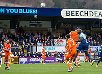 Adebayo Akinfenwa of Wycombe Wanderers heads towards goal during the Sky Bet League 2 match between Wycombe Wanderers and Blackpool at Adams Park, High Wycombe, England on the 11th March 2017. Photo by Liam McAvoy.
