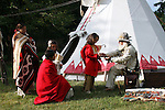 Native American Indian family trading moutainman tipi Lakota Sioux Indians united states trade business meet meeting greet mother mom mum ma child children kids male man female woman red coats Greifenhagen 468-2220 MR 387i 388u n 390i through 395u n 402i 4303u