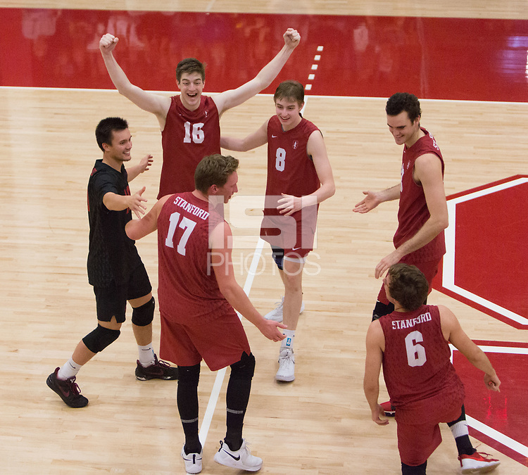 STANFORD, CA - March 10, 2018: Matt Klassen, Evan Enriques, Eli Wopat, Leo Henken, Kevin Rakestraw, Russell Dervay at Burnham Pavilion. The Stanford Cardinal lost to UC Irvine, 3-0.