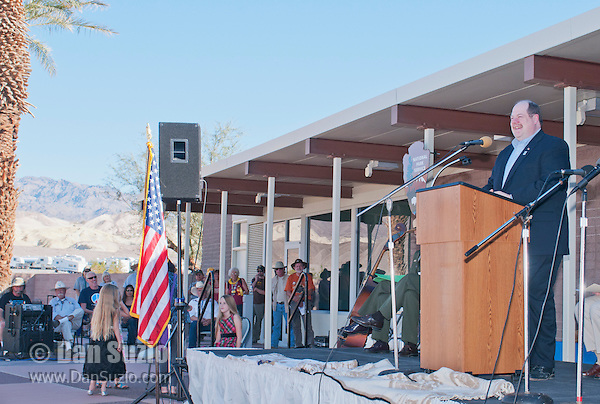 David Blacker, Executive Director of the Death Valley Natural History Association, addresses the audience at the Grand Re-Opening of the Furnace Creek Visitor Center in Death Valley National Park, California, on November 4, 2012.