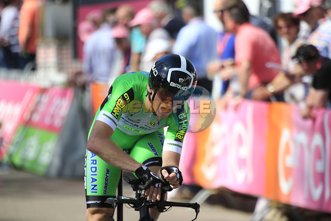 Paolo Simion (ITA) Bardiani CSF crosses the finish line of Stage 1 of the 2016 Giro d'Italia, an individual time trial of 9.8km around Apeldoorn, The Nethrerlands. 6th May 2016.<br /> Picture: Eoin Clarke | Newsfile<br /> <br /> <br /> All photos usage must carry mandatory copyright credit (&copy; Newsfile | Eoin Clarke)