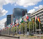 Flag parade along the waterfront promenade at Boompjes, Rotterdam, Netherlands