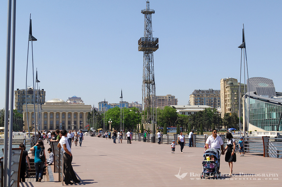 Azerbaijan, Baku. Baku Boulevard is a promenade that runs parallel to Baku's seafront. Azerbaijan State Carpet Museum to the left. Baku Business Center to the right.