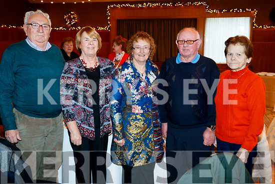 Paul Somers, Eileen Somers, Philomena Ryan, John Joe Cunningham and Sheila Cunningham, pictured at the Abbeydorney/Kilfynn Senior Citizens Christmas Party at Ballyroe Heights, Tralee, on Sunday last.