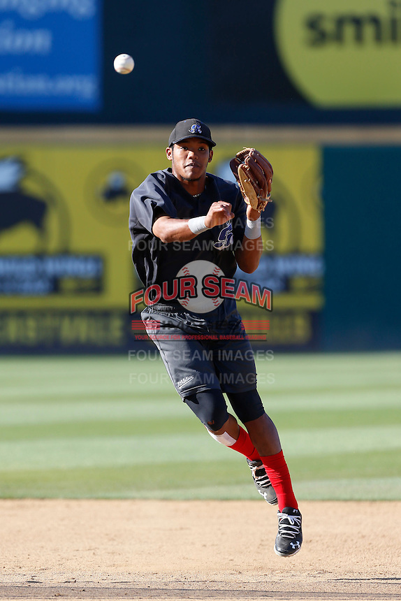 Addison Russell #27 of the Stockton Ports before a game against the Rancho Cucamonga Quakes at LoanMart Field on June 13, 2013 in Rancho Cucamonga, California. Stockton defeated Rancho Cucamonga, 8-4. (Larry Goren/Four Seam Images)