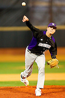 Starting pitcher Luke Farrell #52 of the Northwestern Wildcats in action against the Wake Forest Demon Deacons at Gene Hooks Field on February 26, 2011 in Winston-Salem, North Carolina.  Photo by Brian Westerholt / Four Seam Images