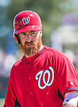 16 March 2014: Washington Nationals first baseman Adam LaRoche in action during a Spring Training Game against the Detroit Tigers at Space Coast Stadium in Viera, Florida. The Tigers edged out the Nationals 2-1 in Grapefruit League play. Mandatory Credit: Ed Wolfstein Photo *** RAW (NEF) Image File Available ***