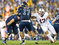 PASADENA, CA - November 24, 2012:  Stanford linebacker A.J. Tarpley (17) applies pressure to the UCLA quarterback during the Stanford Cardinal vs the UCLA Bruins at the Rose Bowl in Pasadena, CA. Final score Stanford Cardinal 34, UCLA Bruins 17.