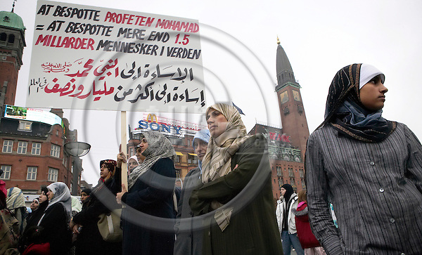"Muslims demonstrating in Copenhagen against the newpaper Jyllands-Postens, which two weeks earlier printed a page full of drawings of Muhammed, which is not legal according to Muslim religion..Copenhagen, 14.10.2005. Photo: Christian T. Joergensen/FotoFactory.dk. ..This image is delivered according to terms set out in ""Terms for Delivery of Photography & Text"". (Please see www.fotofactory.dk for more details)."