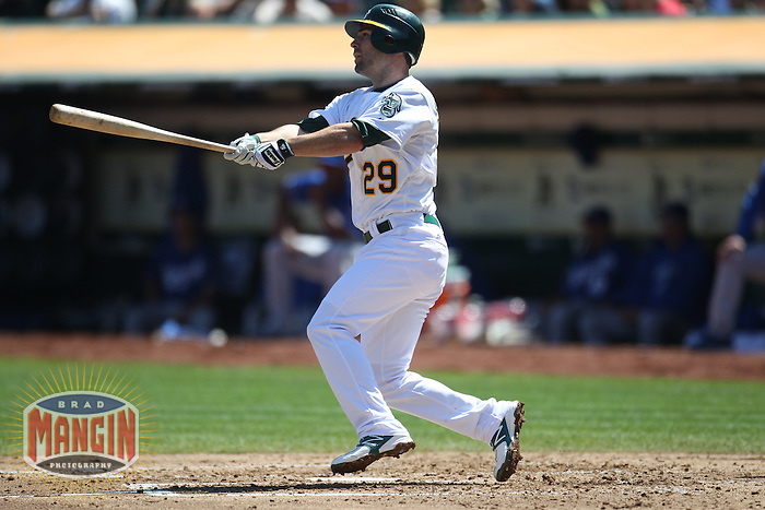 OAKLAND, CA - SEPTEMBER 5: Scott Sizemore #29 of the Oakland Athletics hits a home run against the Kansas City Royals during the game at O.co Coliseum on September 5, 2011 in Oakland, California. Photo by Brad Mangin