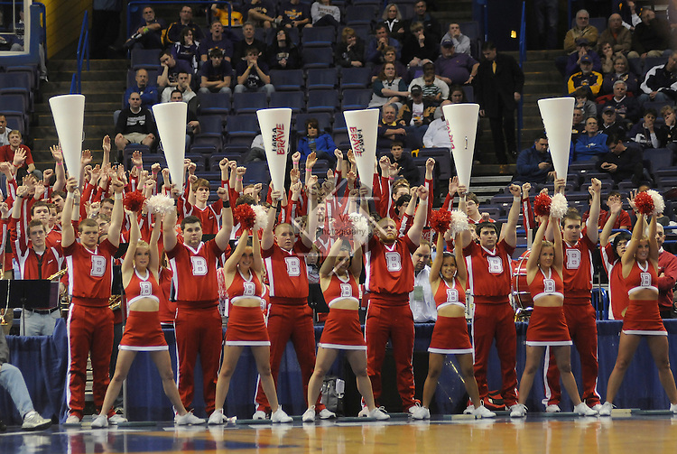 March 4,  2011          Bradley University cheerleaders stand at attention as they try to fire up the crowd in the first half. Wichita State played Bradley University in the third quarterfinal game of the NCAA Missouri Valley Conference Men's Basketball Tournament on Friday March 4, 2011 at the Scottrade Center in downtown St. Louis.