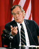 United States President George H.W. Bush answers a reporter's question during a joint press conference with President Mikhail Gorbachev of the Union of Soviet Socialist Republics, at the conclusion of their summit in the East Room of the White House in Washington, DC on Sunday, June 3, 1990.  <br /> Credit: Ron Sachs / CNP