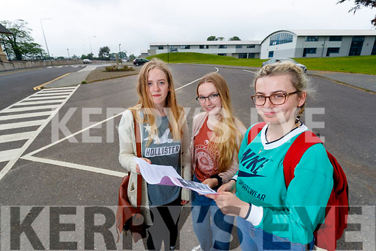 Mercy Mounthawk Students pictured after completing English Paper 1 on Wednesday morning last from Left: Julie Grady, Aoife King and Rossana Nucaj.