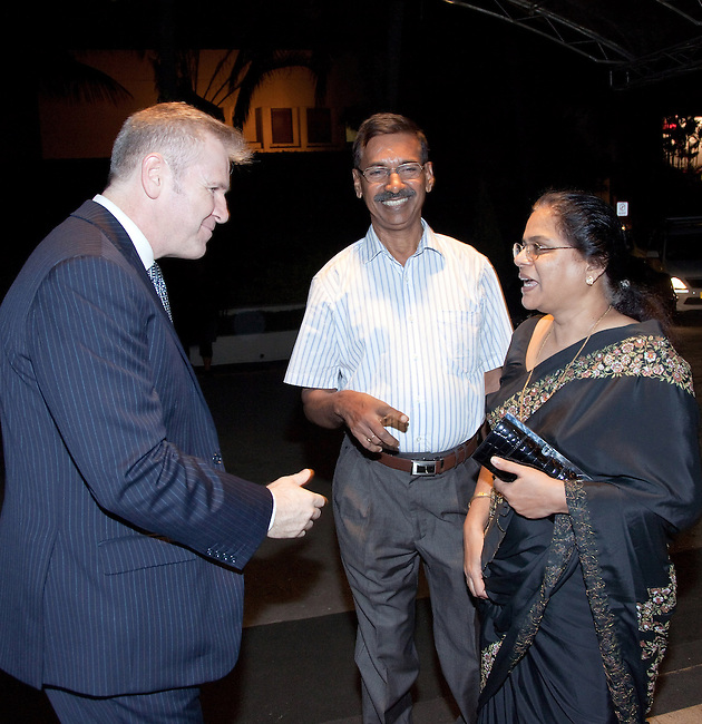 16 December, 2012, Kochin, INDIA: Australian Consul for South India David Holly greets guests at a dinner for  Australian artists at the Kochi-Muziris Biennale  at the Gateway Hotel. The Biennale curators travelled Down Under to select an exciting group of artists to take part in this celebration of contemporary art from around the world, which is expected to become one of Asia's best arts events. The Biennale acknowledges the cosmopolitan modernity of Kochi and the international connections established by the ancient port of Muziris that existed 30km north of Kerala's current commercial capital. Picture by Graham Crouch/DFAT