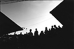 Fulham fans, Craven Cottage c1998. Supporters watch the sunset<br /> (Exact date tbc). Photo by Tony Davis