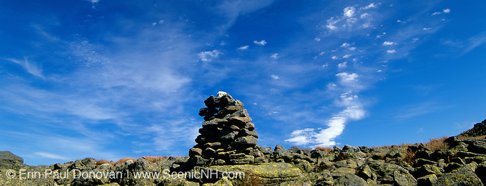 Appalachian Trail - Rock cairn on the Gulfside Trail in the Northern Presidential Range of the White Mountains, New Hampshire USA