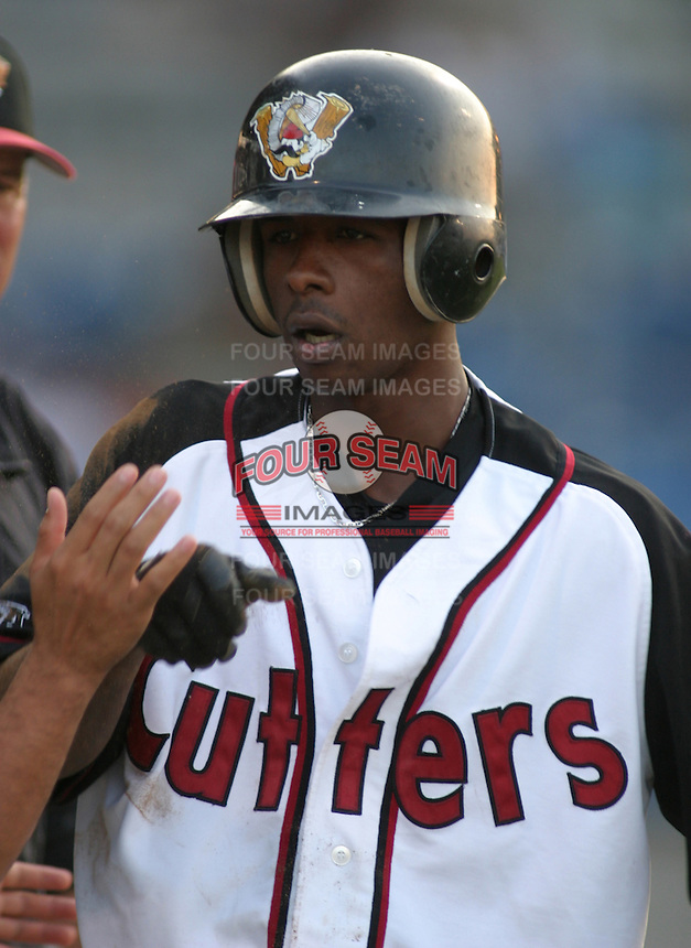 August 25, 2003:  Nyjer Morgan of the Williamsport Crosscutters, Short Season Class-A affiliate of the Pittsburgh Pirates, during a NY-Penn League game at Bowman Field in Williamsport, PA.  Photo by:  Mike Janes/Four Seam Images