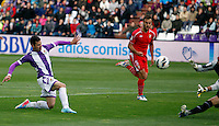 Real Valladolid´s Guerra scores a goal during La Liga match against Sevilla. March 28, 2010. (ALTERPHOTOS/Víctor J Blanco)